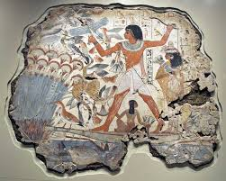 courtesy of www.ancient-egypt.co.uk. A typical tomb hunting scene depicting a cat trained to catch fowl and fish
