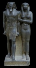 King Menkaure (Mycerinus) and queen, 2490-2472 B.C.E., Museum of Fine Arts, Boston)​    *Diad: Piece of Statuary depicting two figures